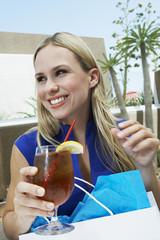 Woman Drinking an Iced Tea