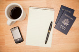 Overhead Pad, Pen, Passports, Coffee and Cell Phone poster