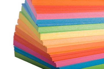 Stack of multicolored notes paper