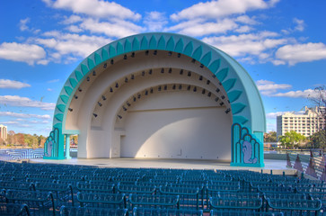 Modern amphitheater awaiting concert