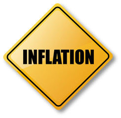 Inflation Caution Road Sign