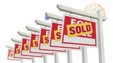 Row of Sold Real Estate Signs Lining Up & Fireworks in on White