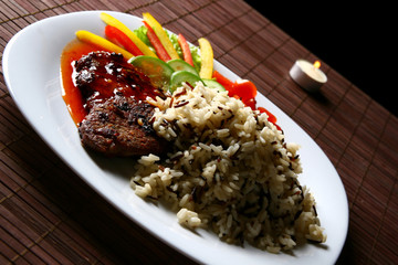Garnish with fried meat and rice