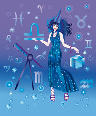 Girl-astrologer with sign of zodiac of Libra character