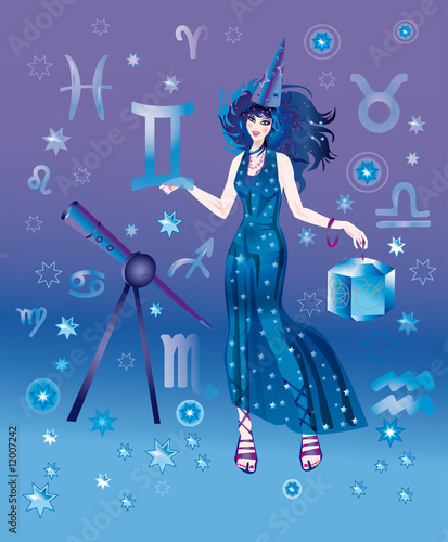 Girl-astrologer with sign of zodiac of Gemini character