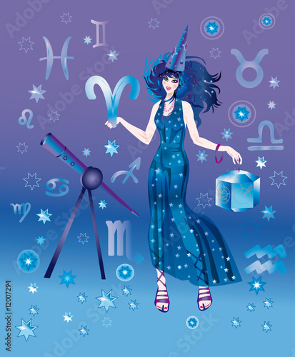 Girl-astrologer with sign of zodiac of Aries character