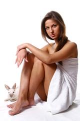 beautyful girl with towel