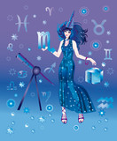 Girl-astrologer with sign of zodiac of Scorpio character poster
