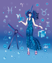 Girl-astrologer with sign of zodiac of Capricorn character