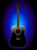 Black Acoustic Guitar - Realistic poster