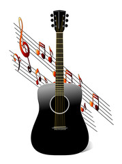 Black Acoustic Guitar with music notes on white