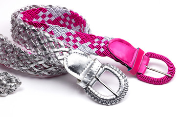 Pink and silver belts
