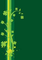 St. Patrick's Day Floral Background - vertical with swirls