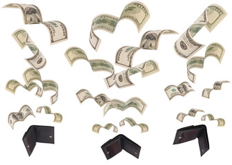 Dollars run away from three wallets isolated