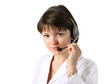 Young female clinic receptionist wearing headset