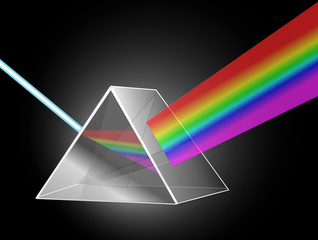 A Prism reflecting light on black