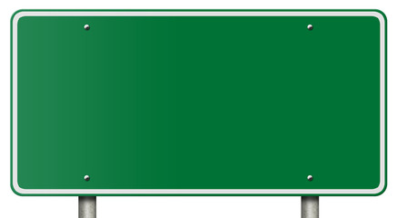 Blank Freeway Sign Isolated on White