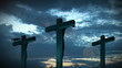 Crucifixes clouds background