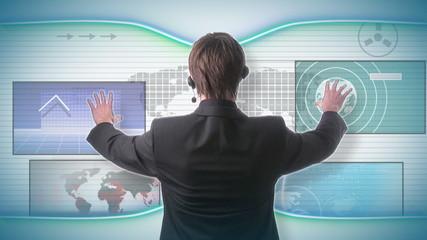 Businessman with futuristic business concept