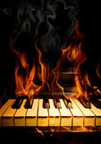 Piano in flames