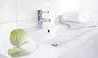 Waschbecken mit Armatur - Handtuch und Blume -Anthurien