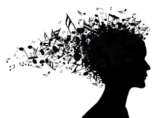 Music woman portrait silhouette