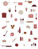 Fototapety Food and kitchenware icons