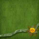 Bunch of flowers on the abstract background with rag poster