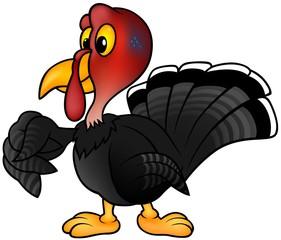 Black Turkey - colored cartoon illustration