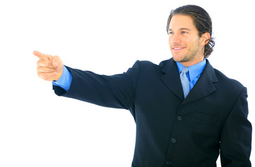Happy Businessman Pointing