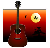 Realistic Guitar overlapping Golden Sunset poster