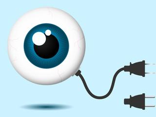 Eyeball with connector plug