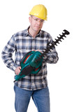 Gardener with hedge trimmer poster