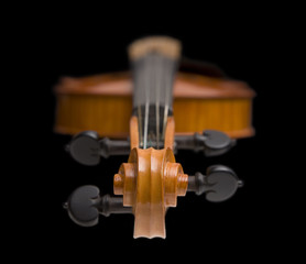 Violin with focus on the scroll
