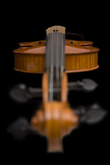 Violin with focus on the bridge