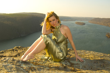 a model posing at sunset