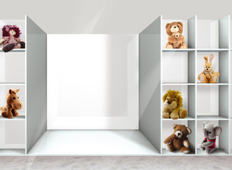 shelves and toys