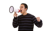 shouting at the megaphone