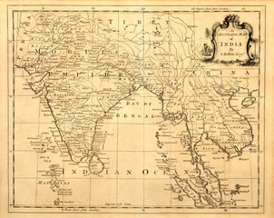 Vintage map of India and Southeast Asia, printed in 1750.
