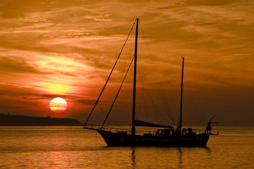 Sailing Boat and The Sunset in Adriatic