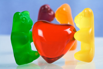 Gummy bear candy and red heart