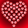 vector gems heart made of red hearth shaped gems