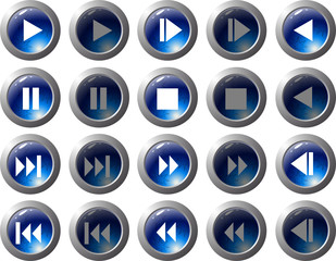 Blue web buttons for player design