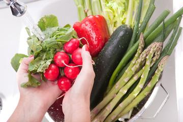 Hands Rinsing Vegetables