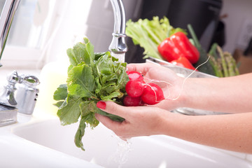 Washing Radishes in the Sink