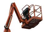An Orange Mechanical Lift - Cherry Picker. poster