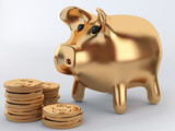 golden piggy bank with coins