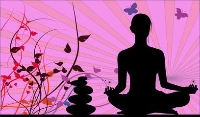 silhouette de femme se relaxant