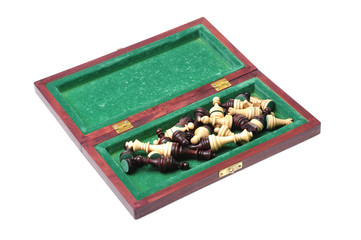 box with chesses on white background