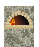 vector firewood oven with  on stone wall poster